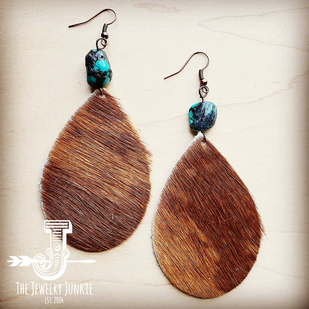 Leather Teardrop Earrings Tan Hair w/ Natural Turquoise Drops 201v