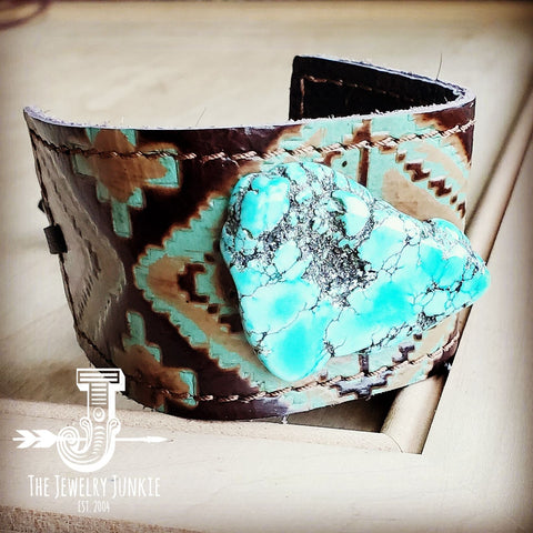Leather Cuff w/ Leather Tie-Turquoise Navajo and Turquoise Slab (011u)