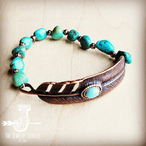 Natural Turquoise Bracelet w/ Copper Feather Center 803o