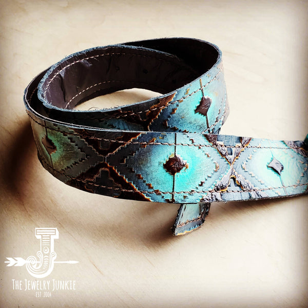 Blue Navajo Leather Belt w/ Turquoise Slab Belt Buckle 901i