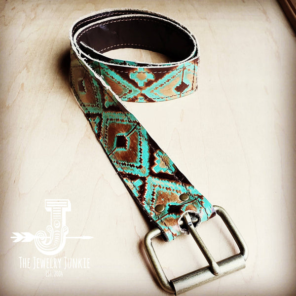Turquoise Navajo Genuine Leather Belt 901j