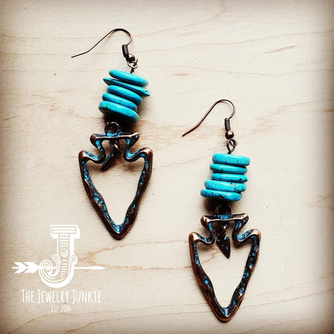 Turquoise Chip Dangle Earrings w/ Copper Arrowhead (201u)