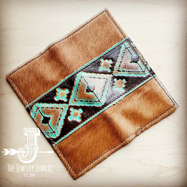 Hair-on-hide Leather Wallet w/ Turquoise Navajo Accent 300y