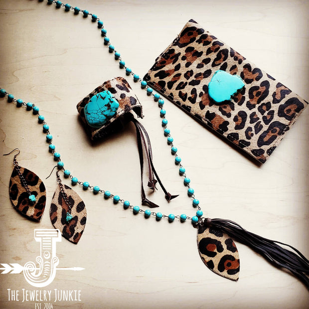 Leather Rectangle Earrings w/ Leopard and Turquoise 201w 1