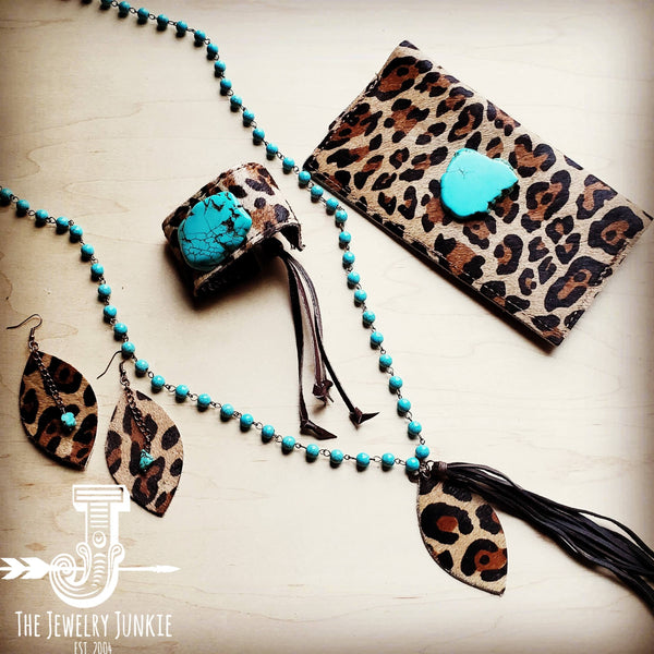 Hair-on-hide Leather Wallet-Leopard w/ Turquoise Slab 300x