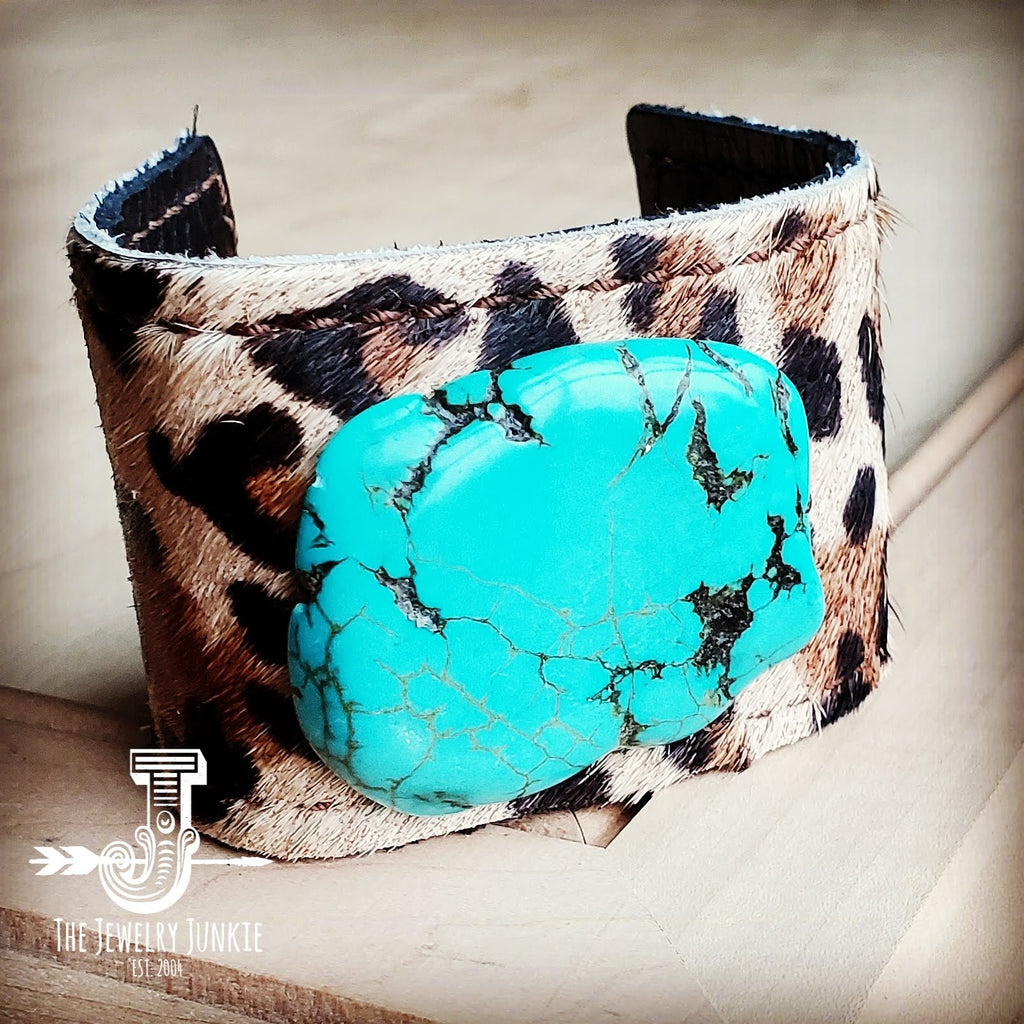 Leather Cuff w/ Leather Tie-Leopard Hide and Turquoise Slab (011s)