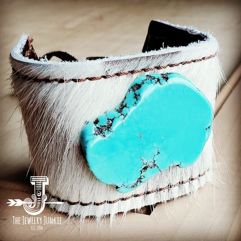 Leather Cuff w/ Leather Tie-White Hide and Turquoise Slab (011r)