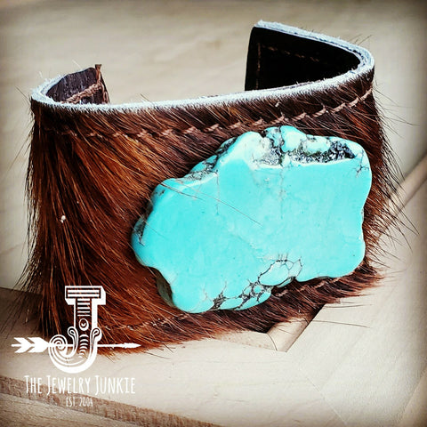 Leather Cuff w/ Leather Tie-Dark Brown Hide and Turquoise Slab (011p)