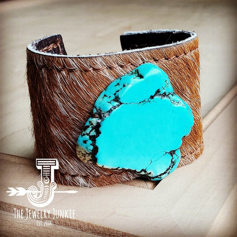 Leather Cuff w/ Leather Tie-Tan Hide and Turquoise Slab (011q)