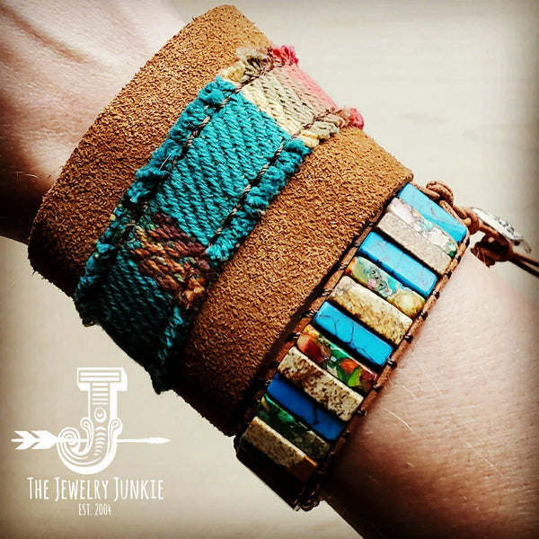 Leather Cuff w/ Leather Tie-Brown Suede and Turquoise Serape (011n)