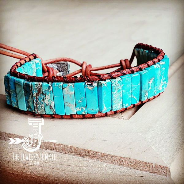 Woven Regalite Stacked Stone Bracelet-Turquoise 803t