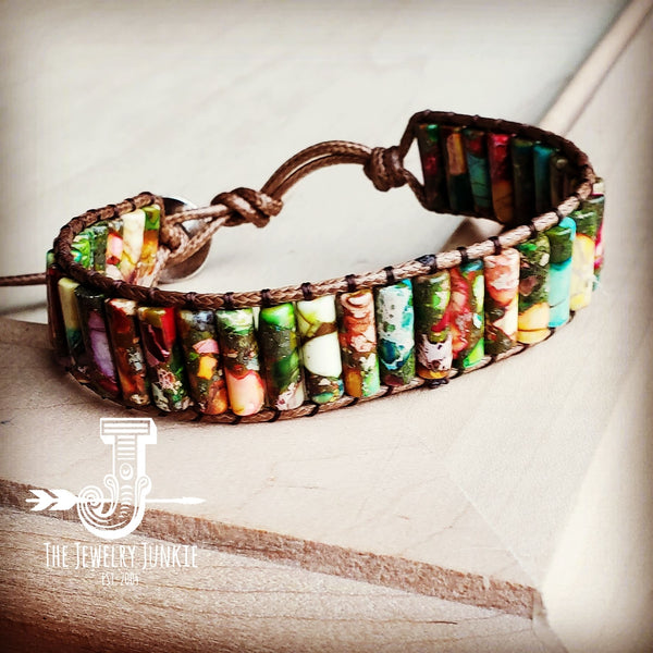 Woven Regalite Stacked Stone Bracelet-Multi 803s