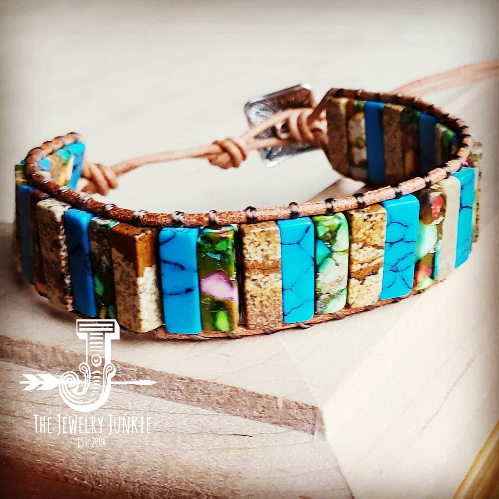Woven Stacked Stone Bracelet-Turquoise & Picture Jasper 803u
