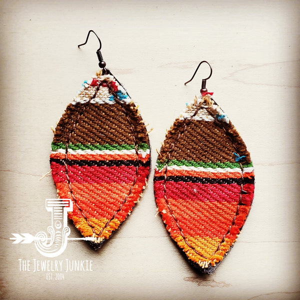 Frayed Serape Earrings w/ Suede Backing-Brown 201z