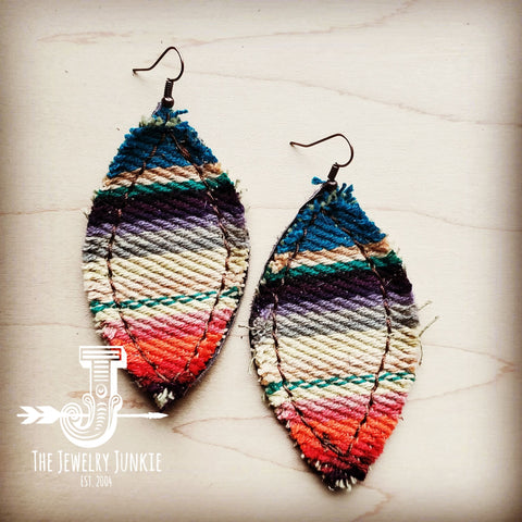 Frayed Serape Earrings w/ Leather Backing-Multi 202b