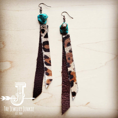 Leather Rectangle Earrings w/ Leopard and Turquoise 201w