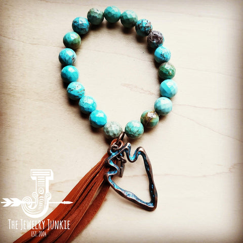 Faceted Natural Blue Turquoise Bracelet w/ Arrowhead Tassel 803p