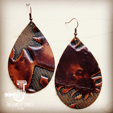 Leather Teardrop Earrings in Brown Laredo 202c