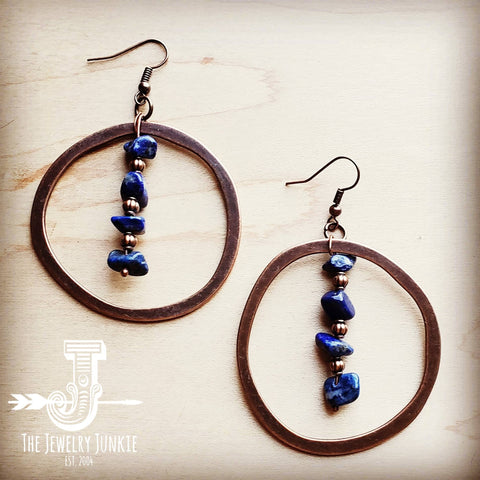 Copper Hoope Earrings w/ Blue Lapis and Copper 201s