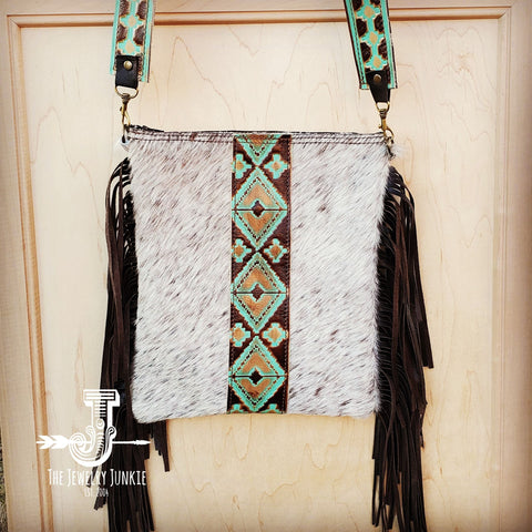 Hair-On-Hide w/ Turquoise Navajo Center Crossbody Handbag 503c