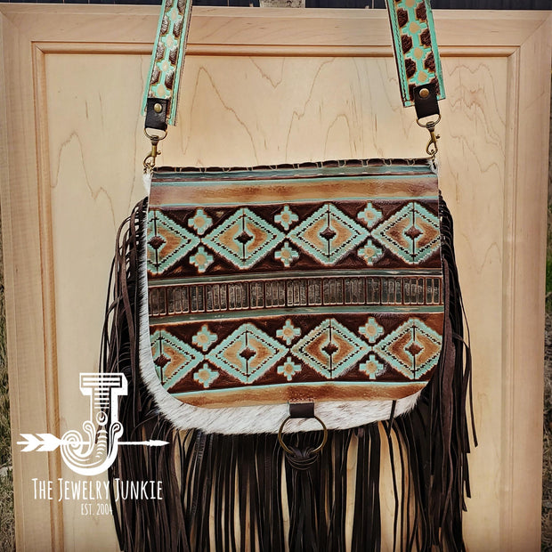 Hair-On-Hide w/ Turquoise Navajo Flap Crossbody Handbag 503d 1