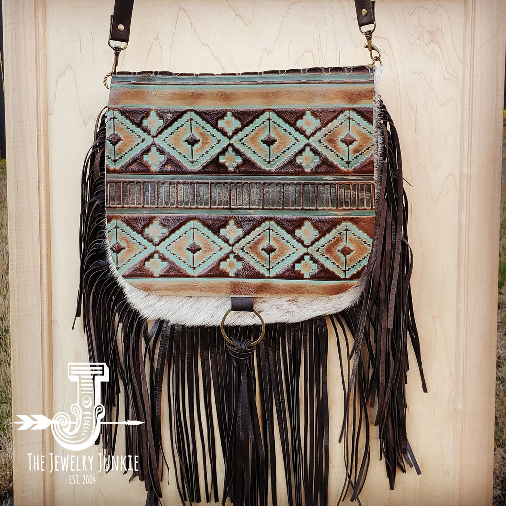 Hair-On-Hide w/ Turquoise Navajo Flap Crossbody Handbag 503d