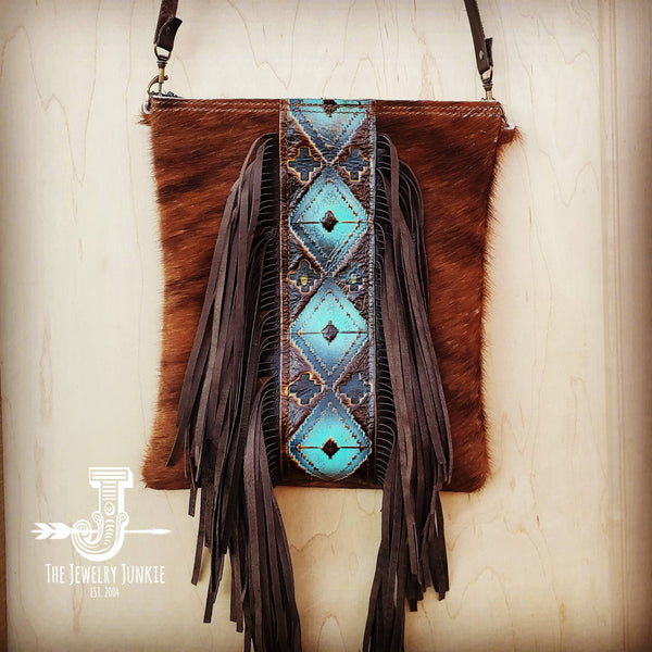 Hair-On-Hide w/ Blue Navajo Center Crossbody Handbag 503b