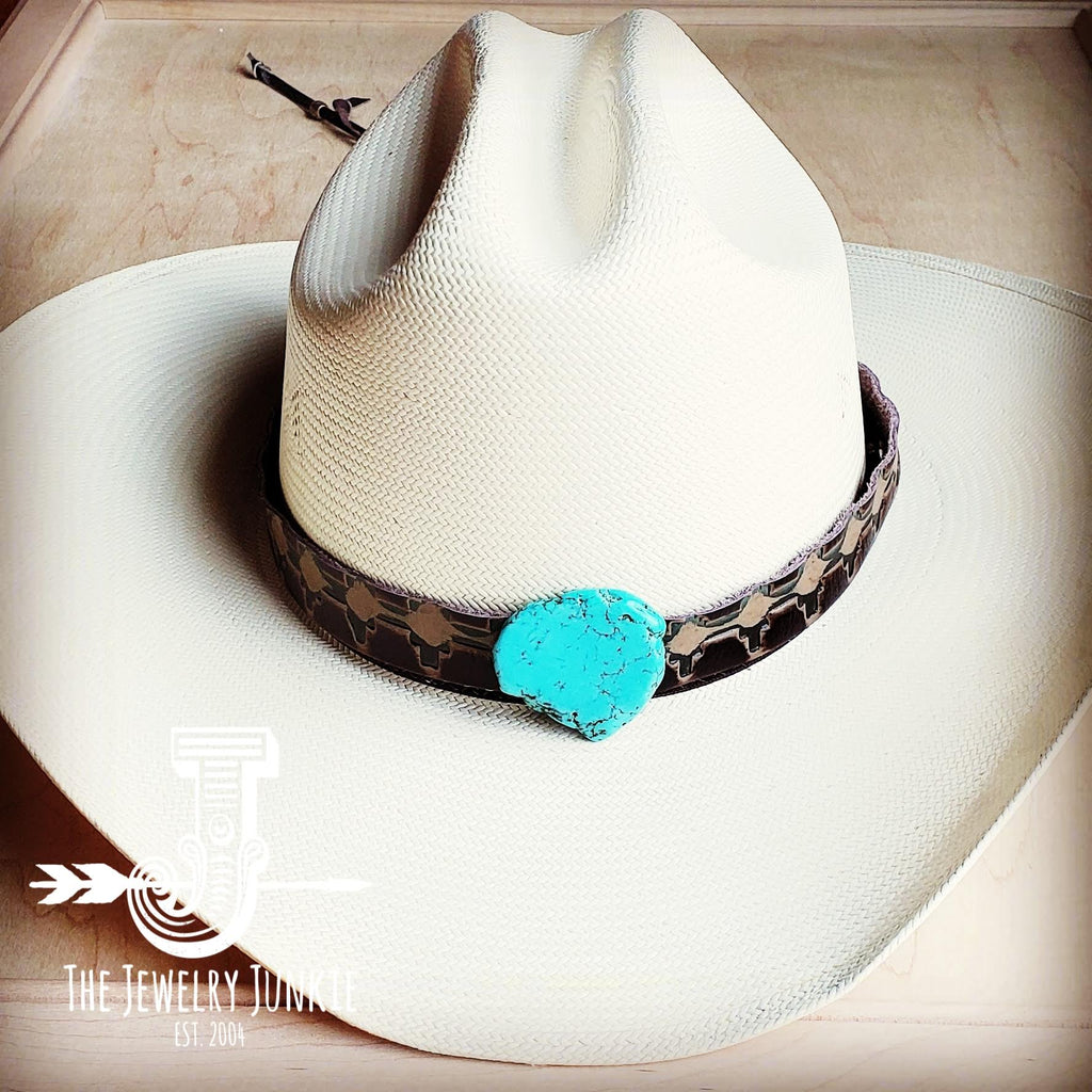 Navajo Embossed Leather Hat Band w/ Turquoise Slab 950e