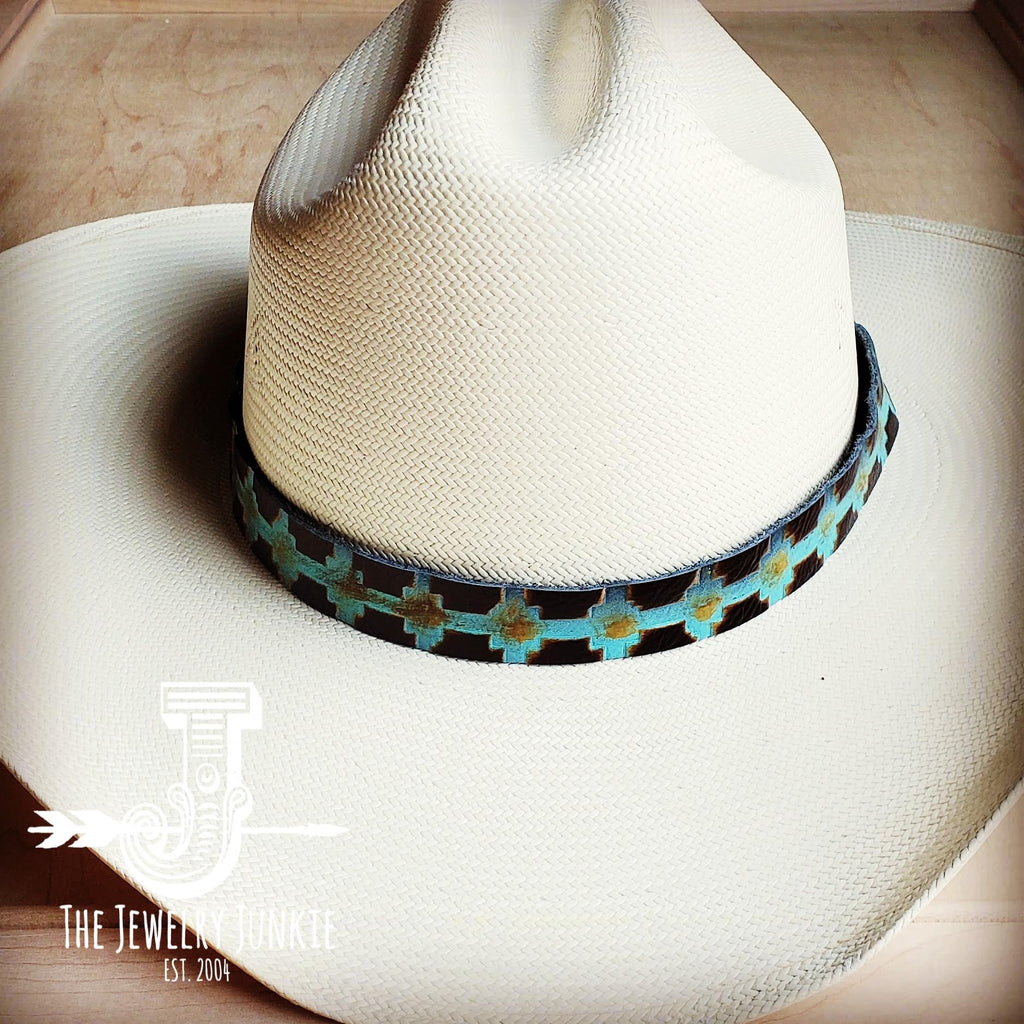 Blue Navajo Embossed Leather Hat Band 950a