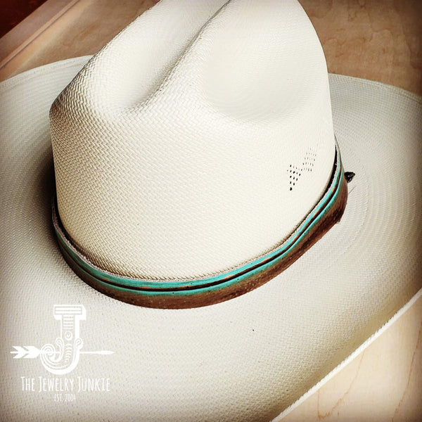 Turquoise Navajo Embossed Leather Hat Band 950b
