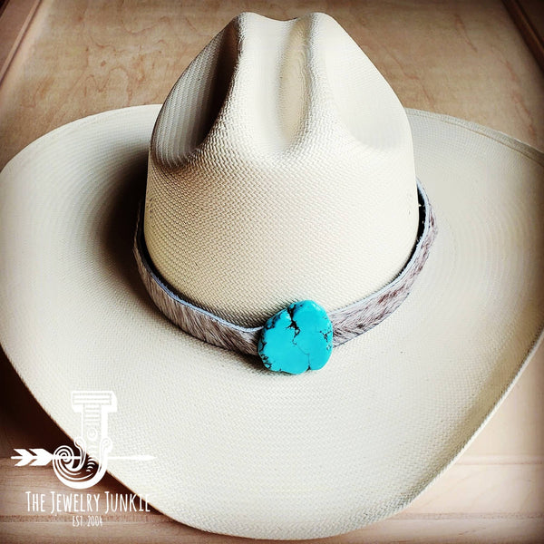 Hair-on-Hide Leather Hat Band w/ Turquoise Slab 950f