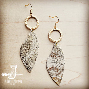 Leather Accent Earrings in Gold and White Paisley 200t