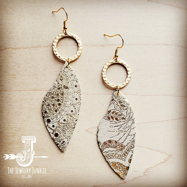Leather Accent Earrings in Gold and White Paisley 200t 1