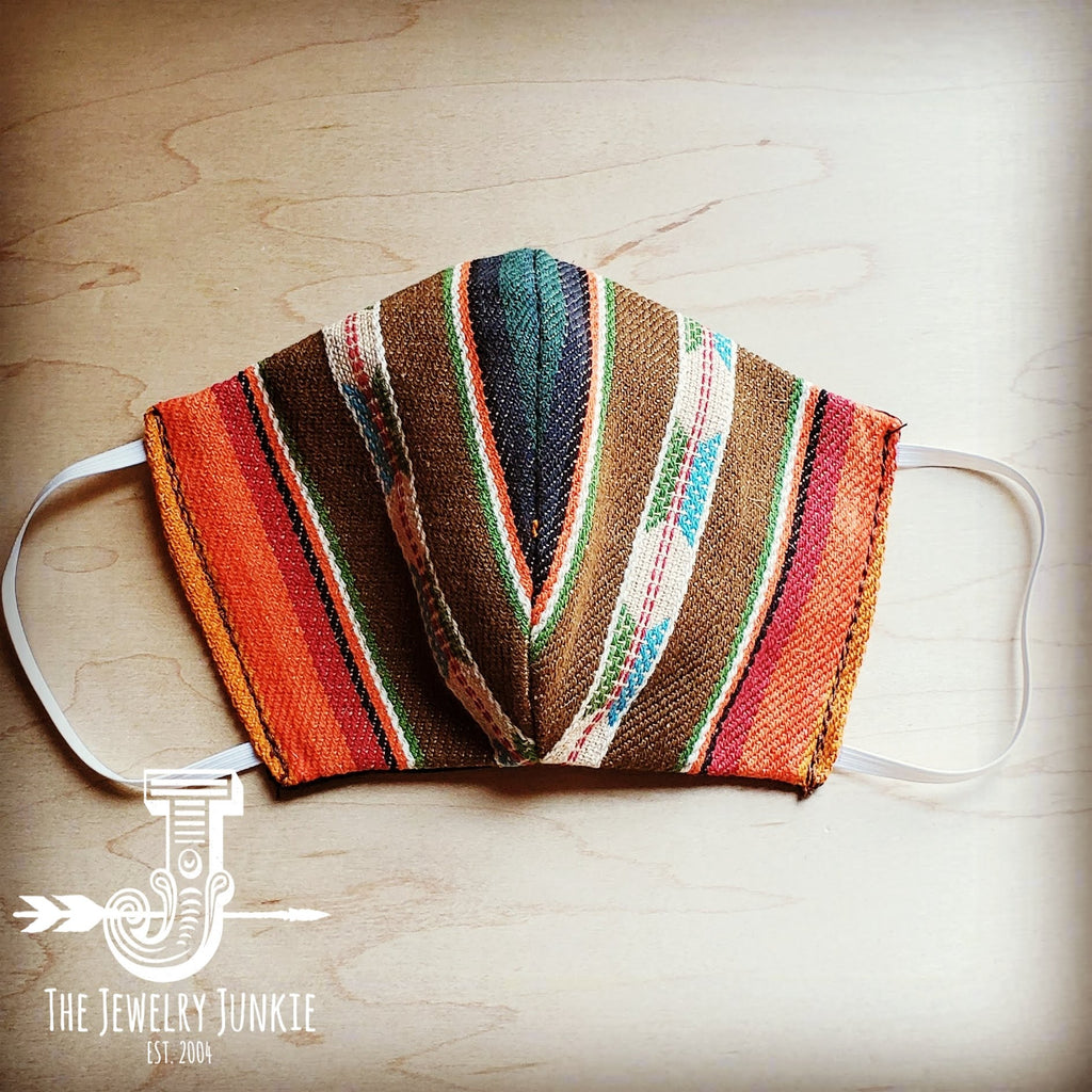 Adult Face Mask in Brown Orange and Teal Serape Medium/Large 980b