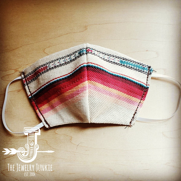Adult Face Mask in Pastel Serape Small/Medium 980e