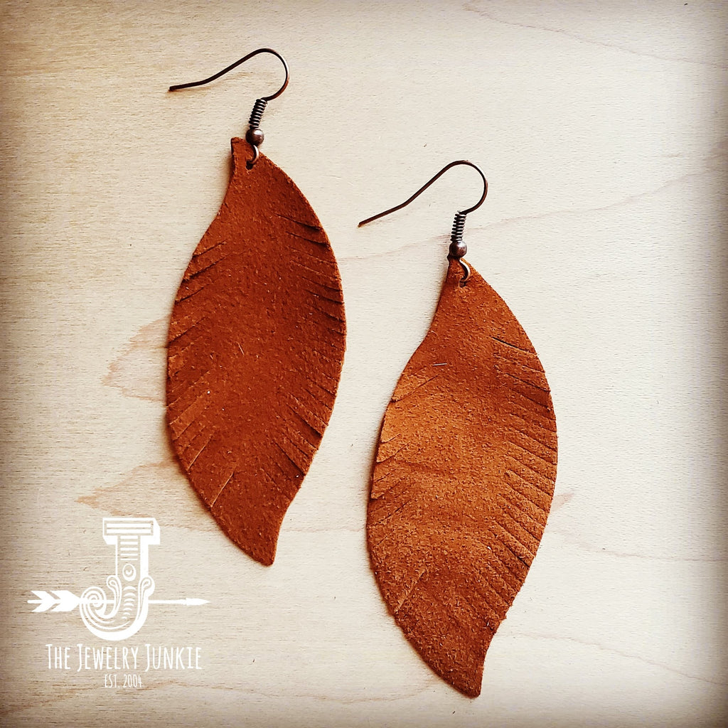 Tan Suede Feather Earrings-Medium (202e)