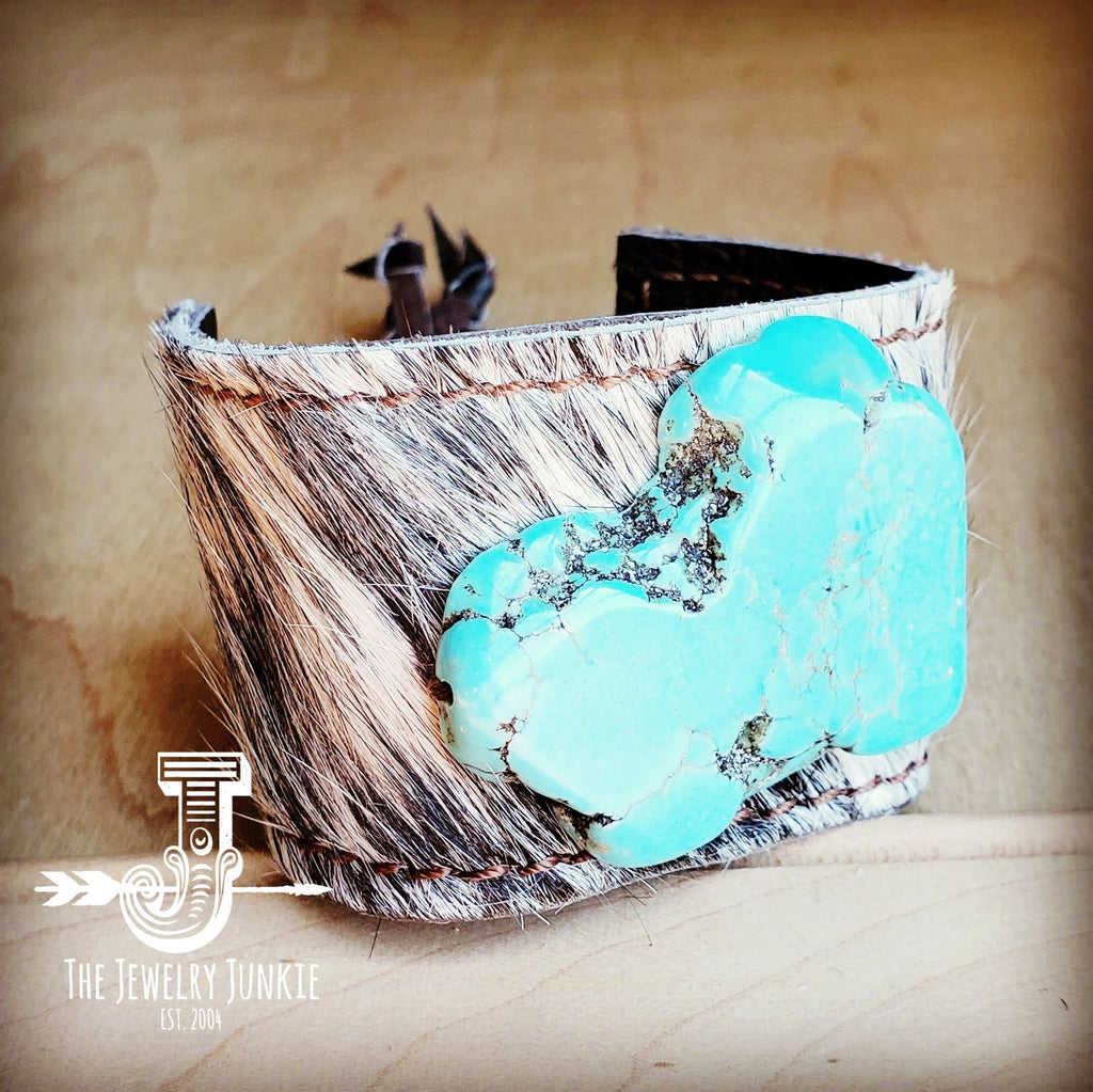 Leather Cuff w/ Tie-Gray Tan Hair on Hide w/ Turquoise Slab 011x