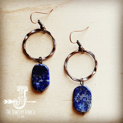 Blue Lapis Slab on Copper Hoop Earrings 239s
