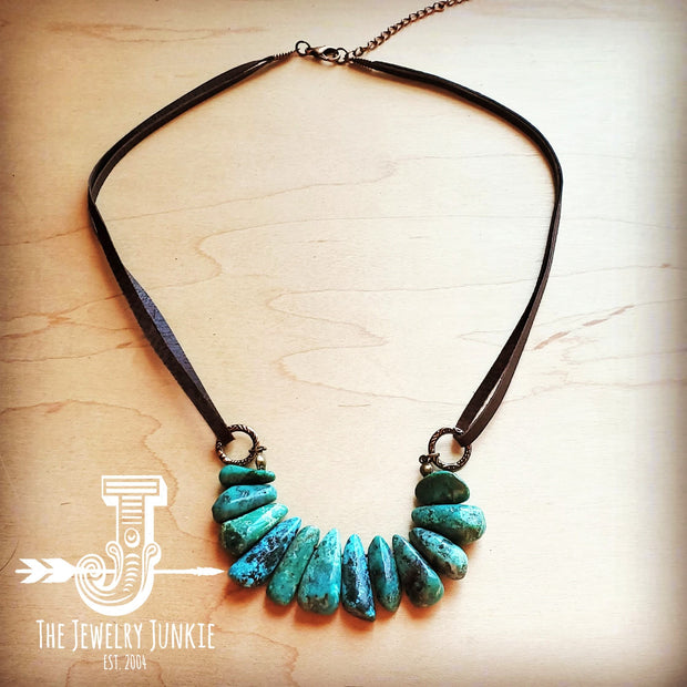 NATURAL TURQUOISE Leather Cord Necklace 250v 1
