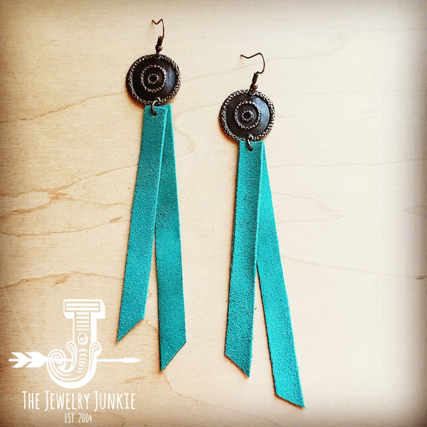 Leather Rectangle Earrings w/ Turquoise Suede 200k