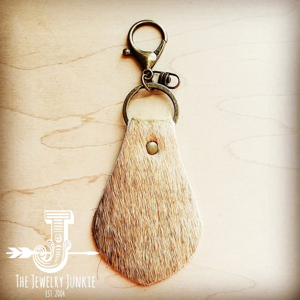 Hair on Hide Leather Key Chain - Naturals 700t