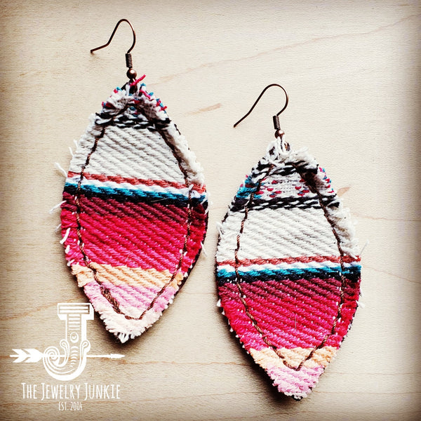 Frayed Serape Earrings w/ Leather Backing-Pastel Pink and Blue 202t