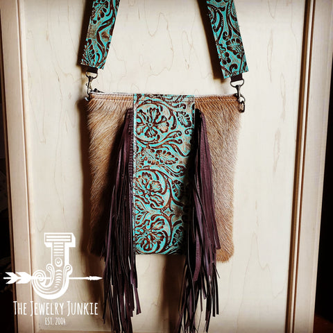 Hair-on-Hide w/ Center Cowboy Turquoise Crossbody Handbag 503s