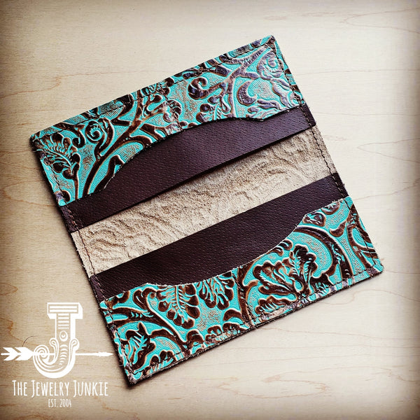 Embossed Leather Wallet in Cowboy Turquoise 301d