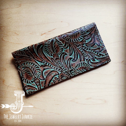 Embossed Leather Wallet in Turquoise Brown Floral 301e