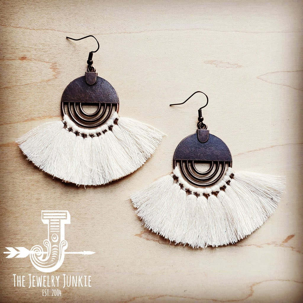Cream Fan Tassel Earrings 202w