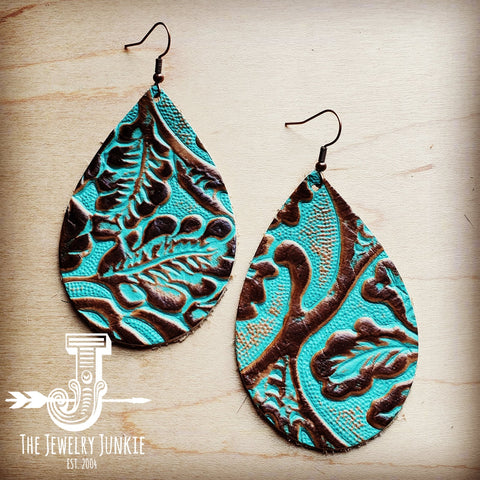 Leather Teardrop Earrings in Cowboy Turquoise 203b