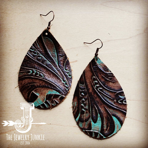 Leather Teardrop Earrings in Turquoise Brown Floral 203d