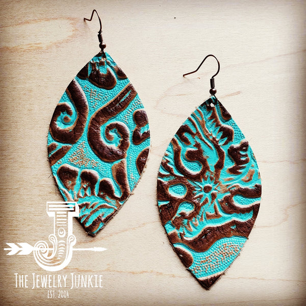 Leather Oval Earrings Cowboy Turquoise 203a