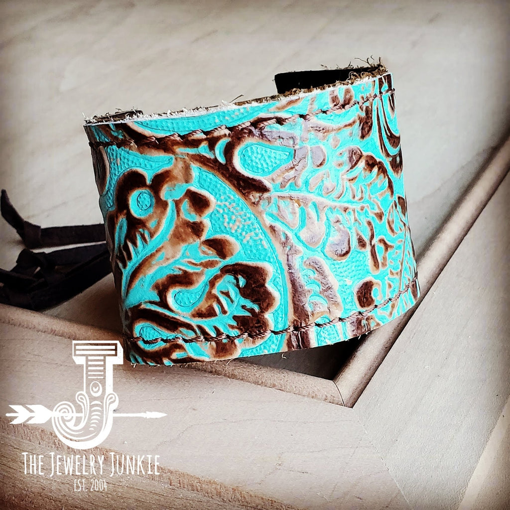 Leather Cuff w/ Adjustable Tie in Cowboy Turquoise 001c